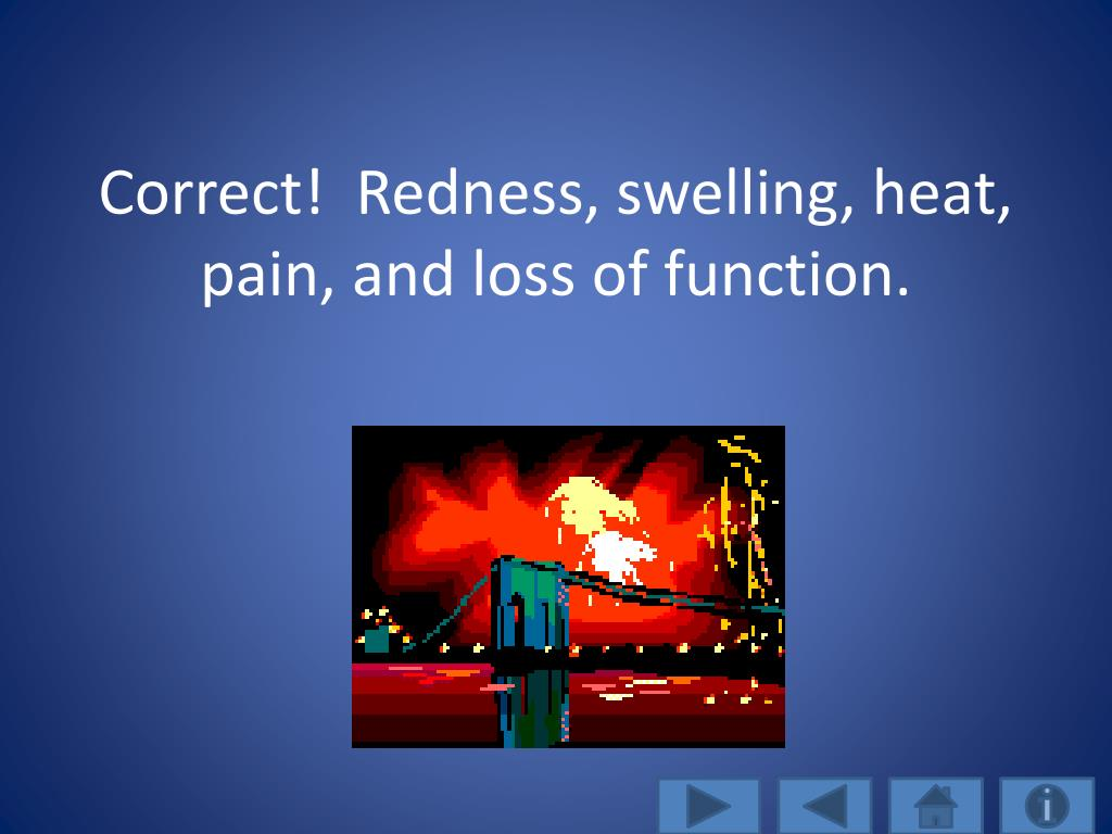 Correct!  Redness, swelling, heat, pain, and loss of function.