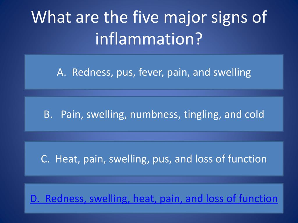 What are the five major signs of inflammation?
