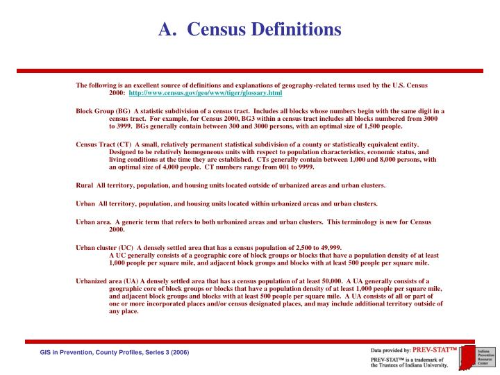 A census definitions