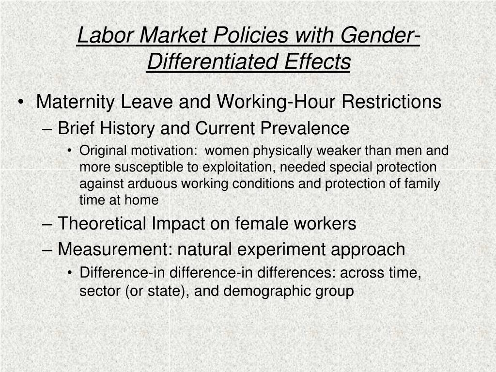 Labor Market Policies with Gender- Differentiated Effects