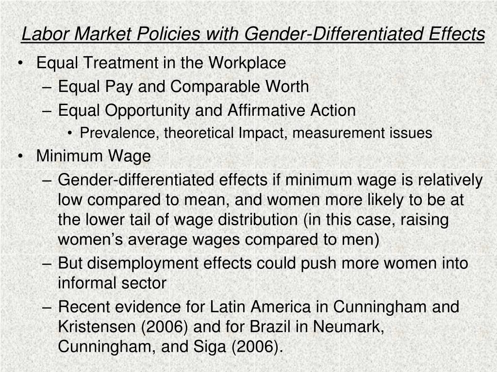 Labor Market Policies with Gender-Differentiated Effects