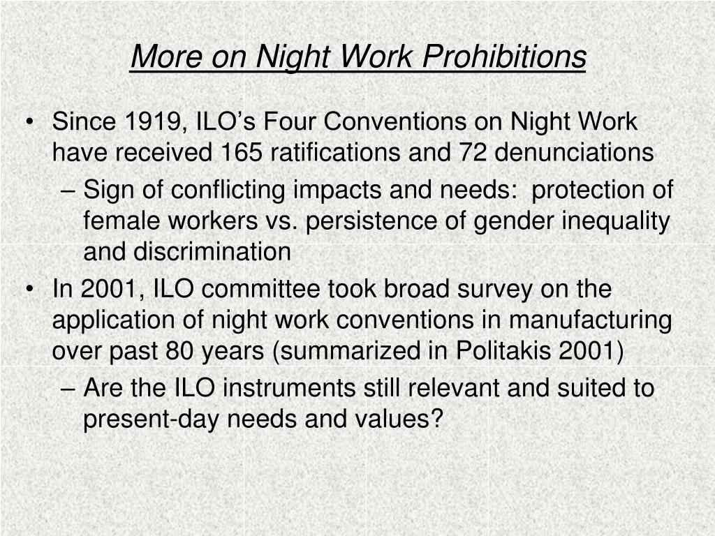 More on Night Work Prohibitions