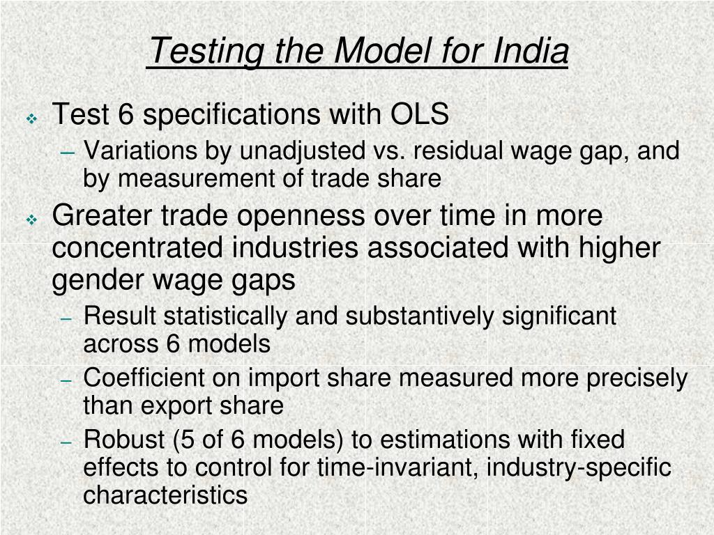 Testing the Model for India