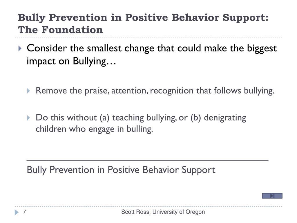Bully Prevention in Positive Behavior Support: