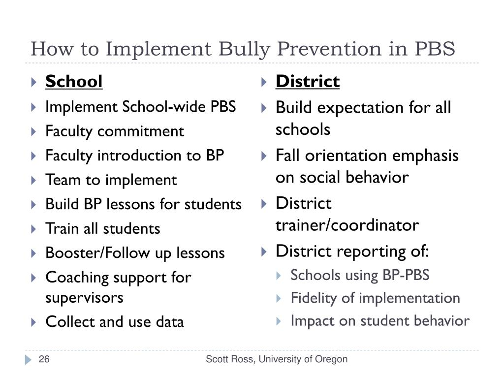 How to Implement Bully Prevention in PBS