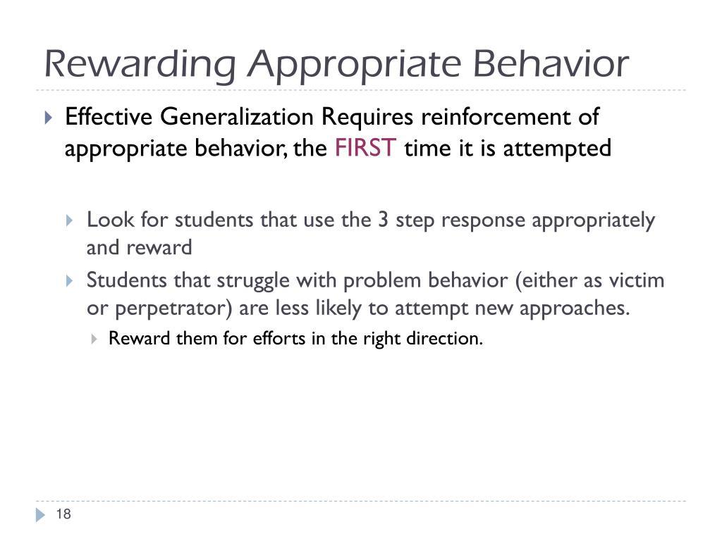 Rewarding Appropriate Behavior