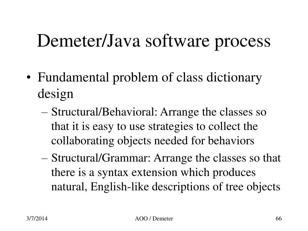 Demeter/Java software process