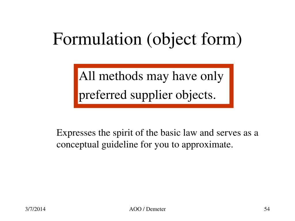 Formulation (object form)
