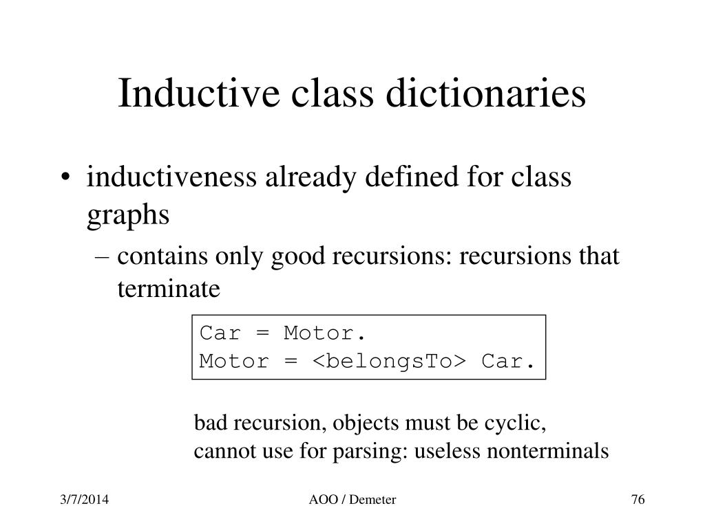 Inductive class dictionaries