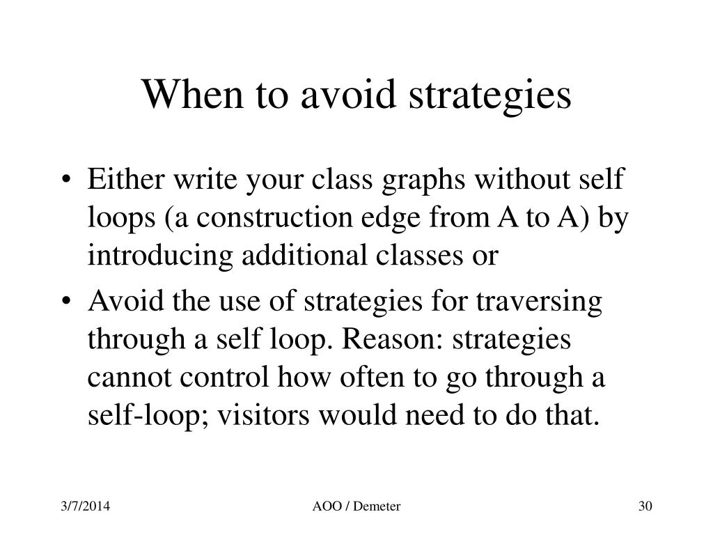 When to avoid strategies