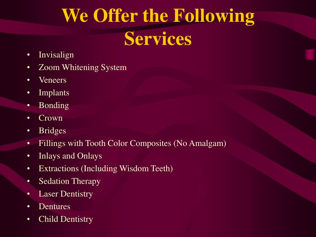 We Offer the Following Services