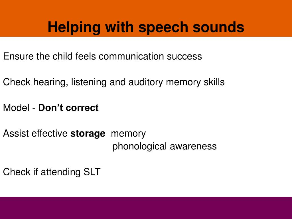 Helping with speech sounds
