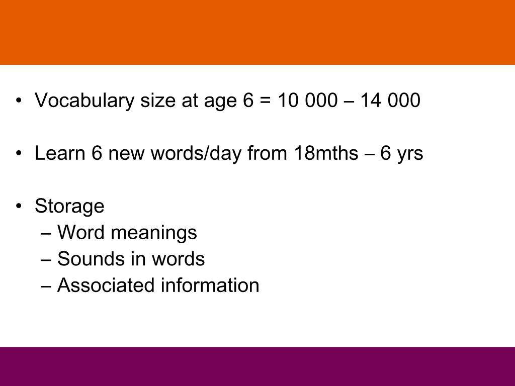 Vocabulary size at age 6 = 10 000 – 14 000