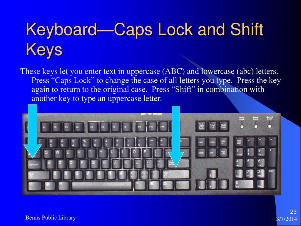 Keyboard—Caps Lock and Shift Keys