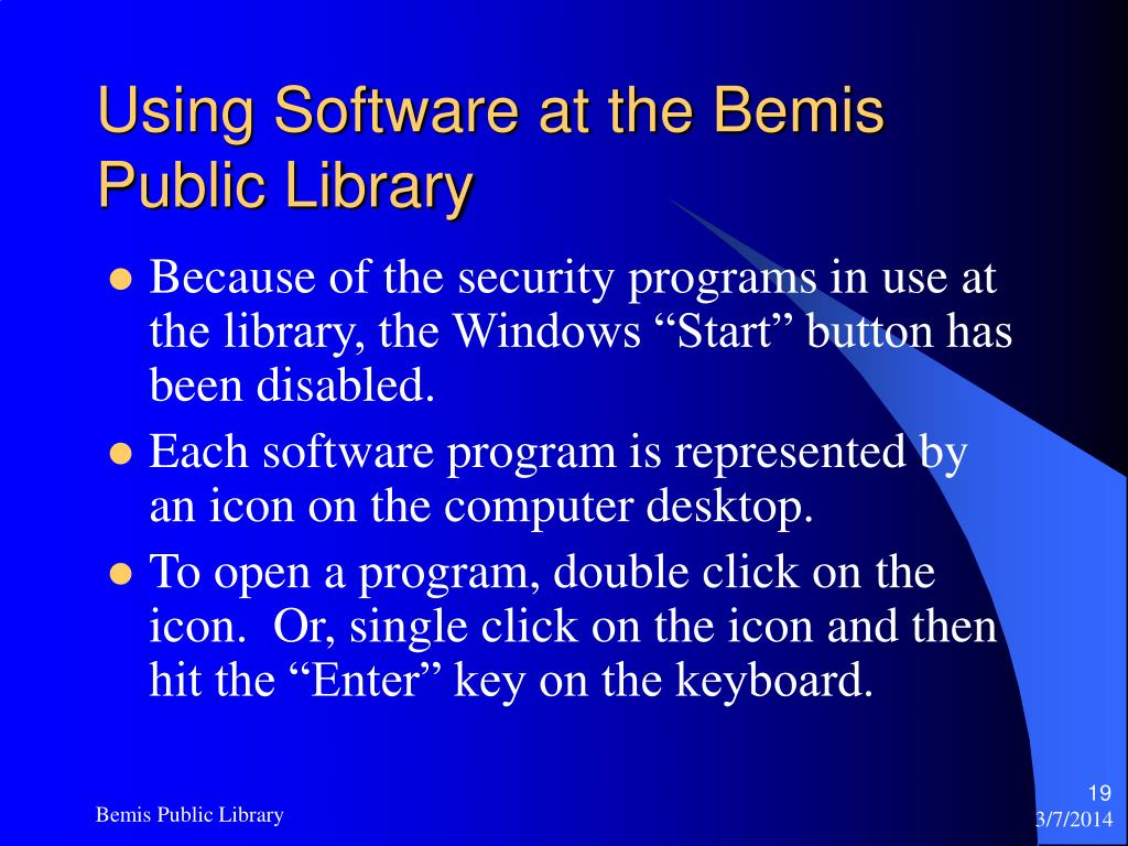 Using Software at the Bemis Public Library