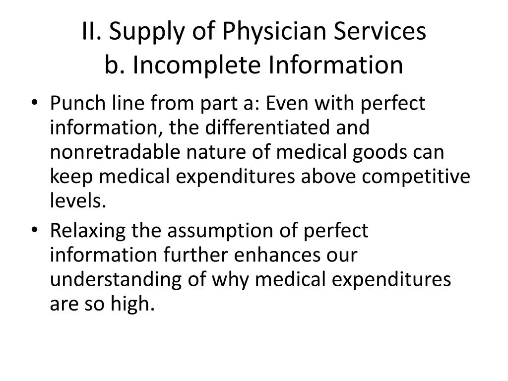II. Supply of Physician Services