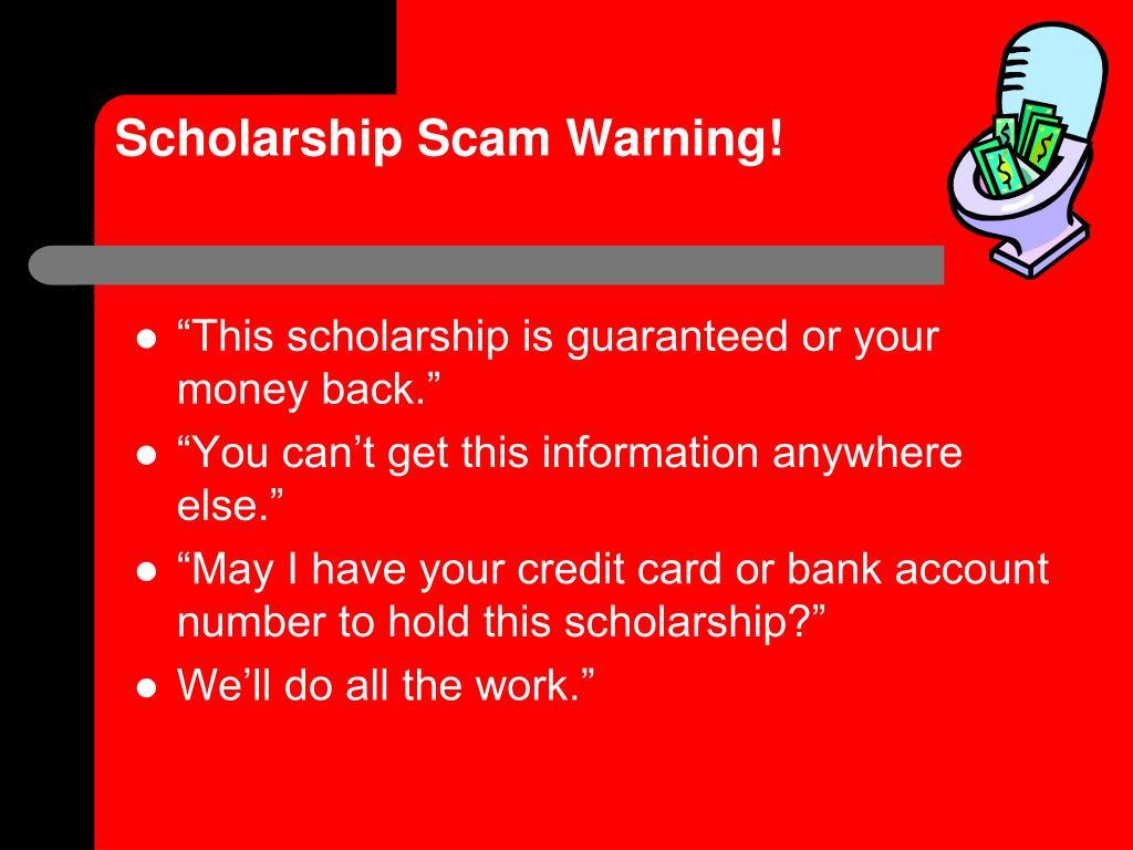 Scholarship Scam Warning!