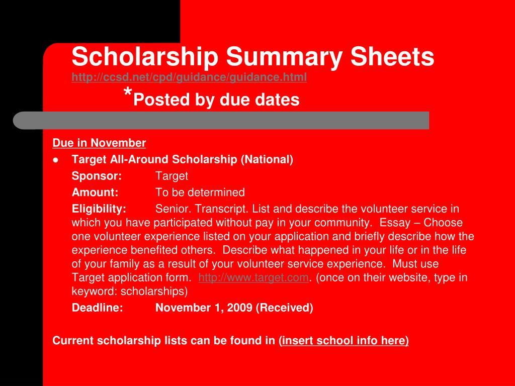 Scholarship Summary Sheets