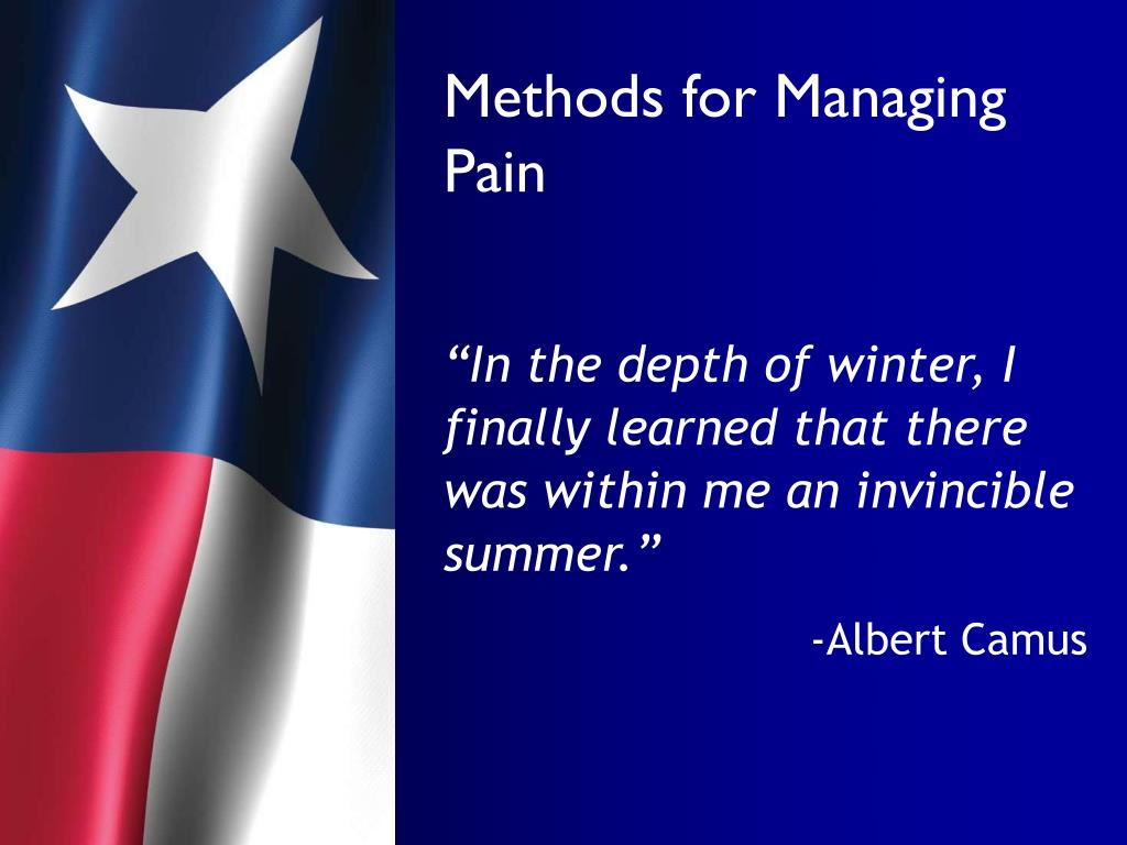Methods for Managing Pain