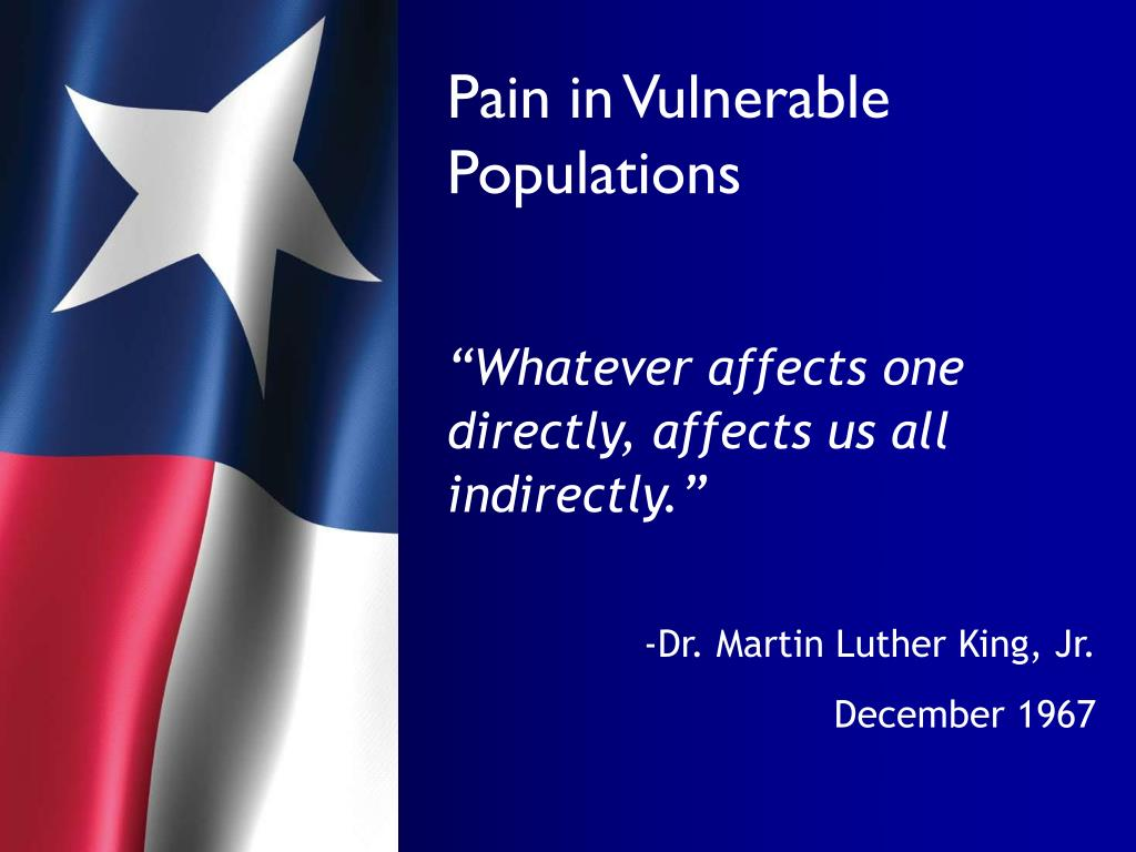 Pain in Vulnerable Populations