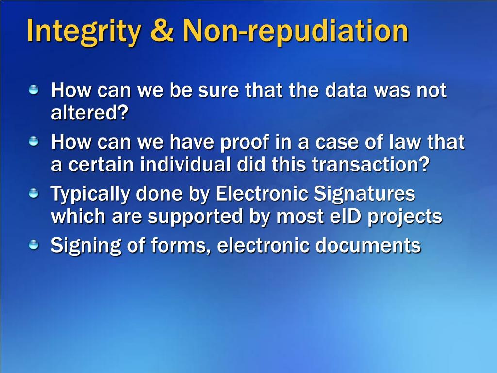 Integrity & Non-repudiation