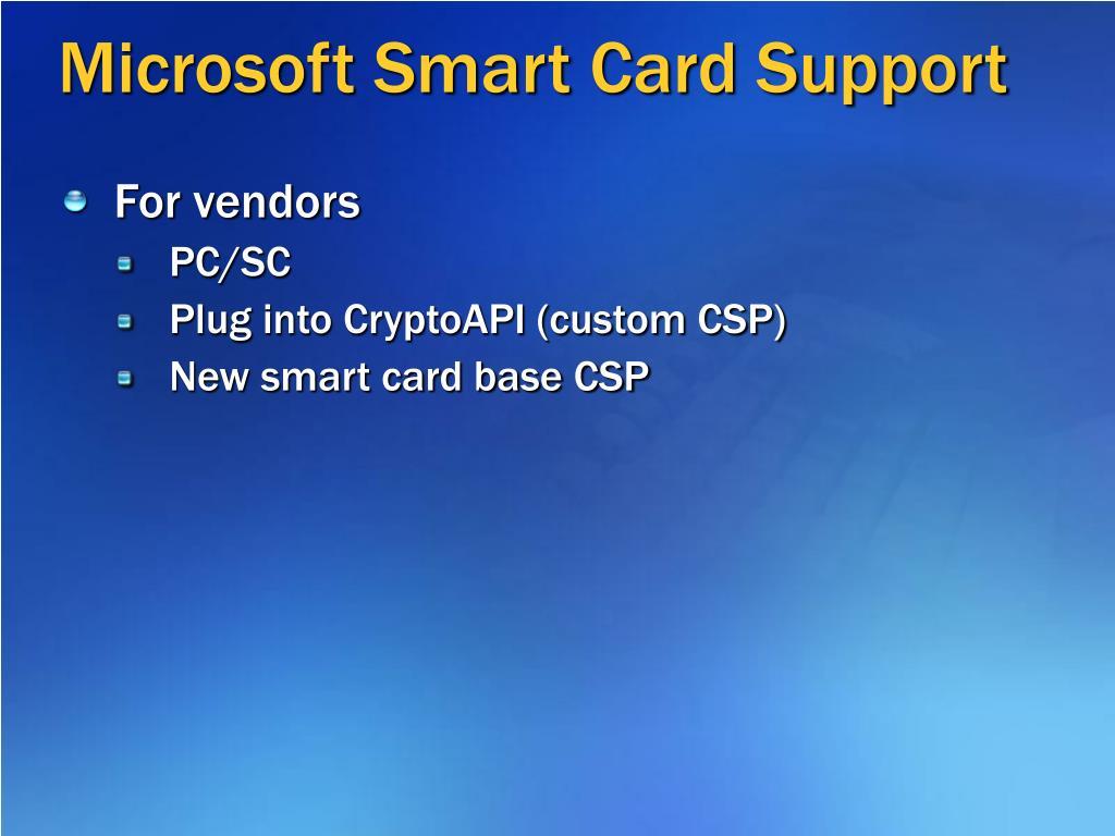 Microsoft Smart Card Support
