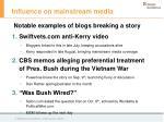 influence on mainstream media