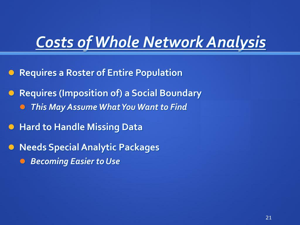 Costs of Whole Network Analysis
