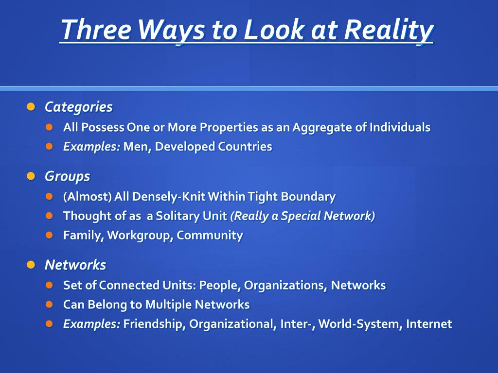Three Ways to Look at Reality