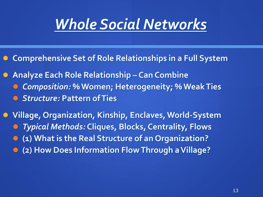 Whole Social Networks