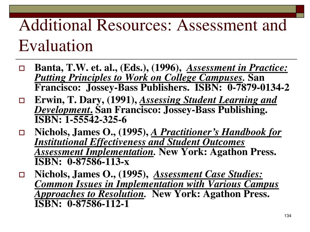 Additional Resources: Assessment and Evaluation