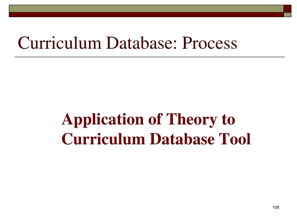 Curriculum Database: Process