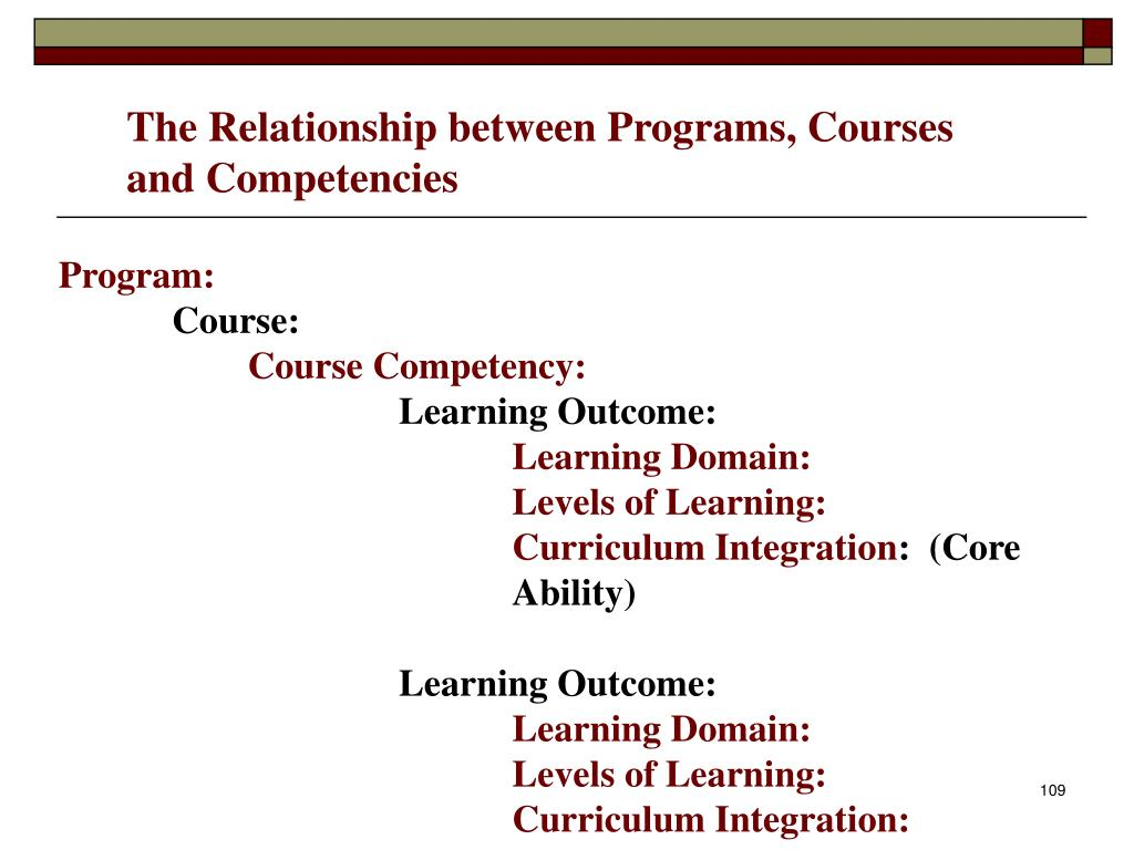 The Relationship between Programs, Courses and Competencies