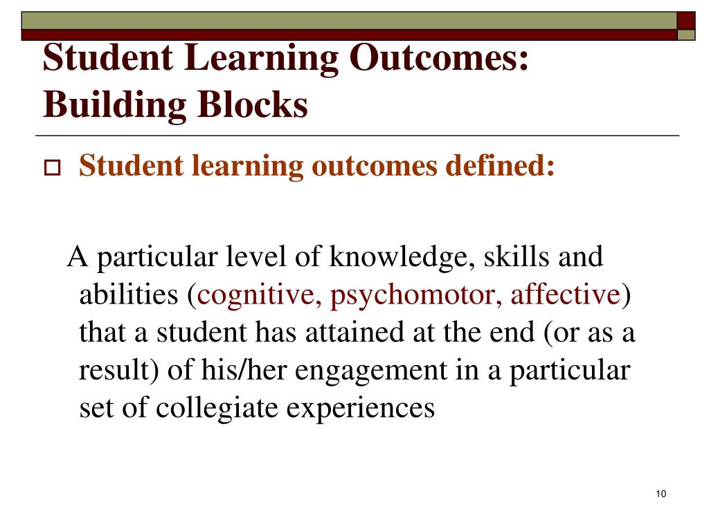 Student Learning Outcomes: Building Blocks
