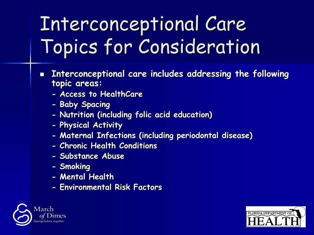 Interconceptional Care Topics for Consideration