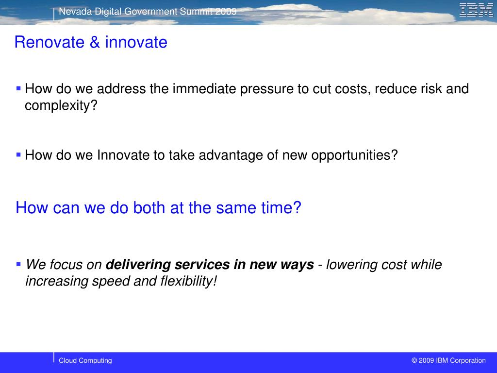 Renovate & innovate