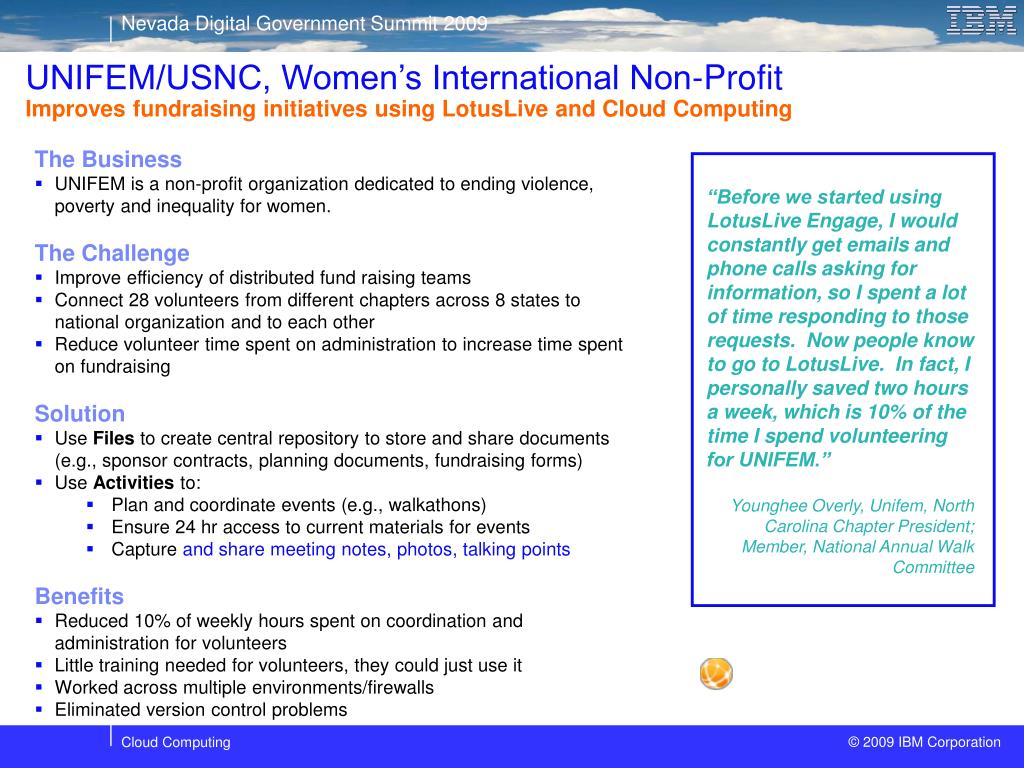 UNIFEM/USNC, Women's International Non-Profit