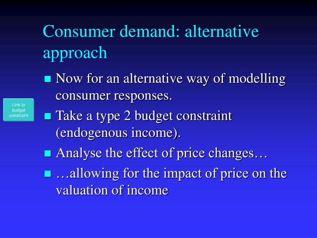 Consumer demand: alternative approach
