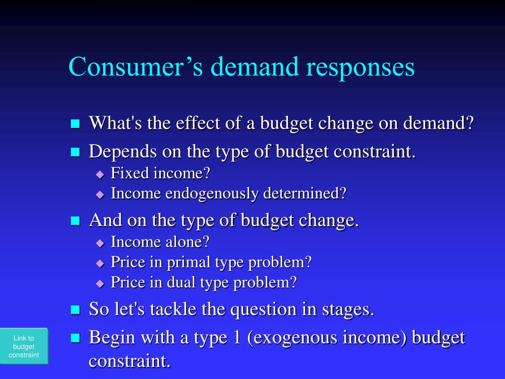 Consumer's demand responses