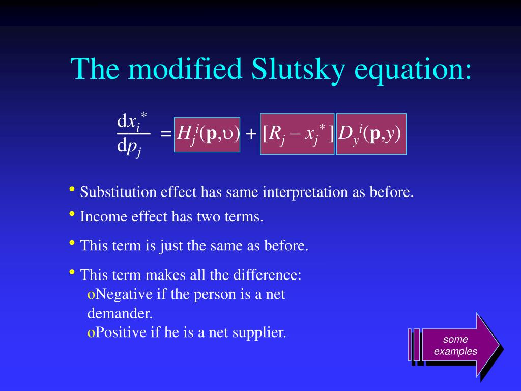 The modified Slutsky equation: