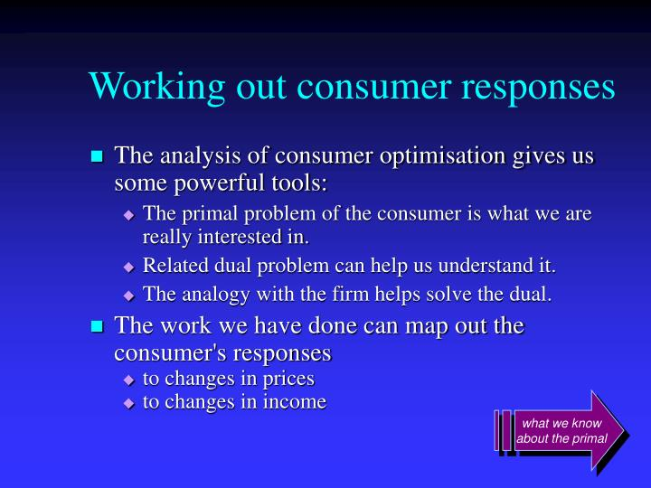 Working out consumer responses