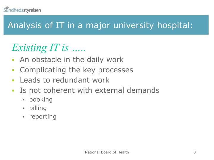 Analysis of it in a major university hospital