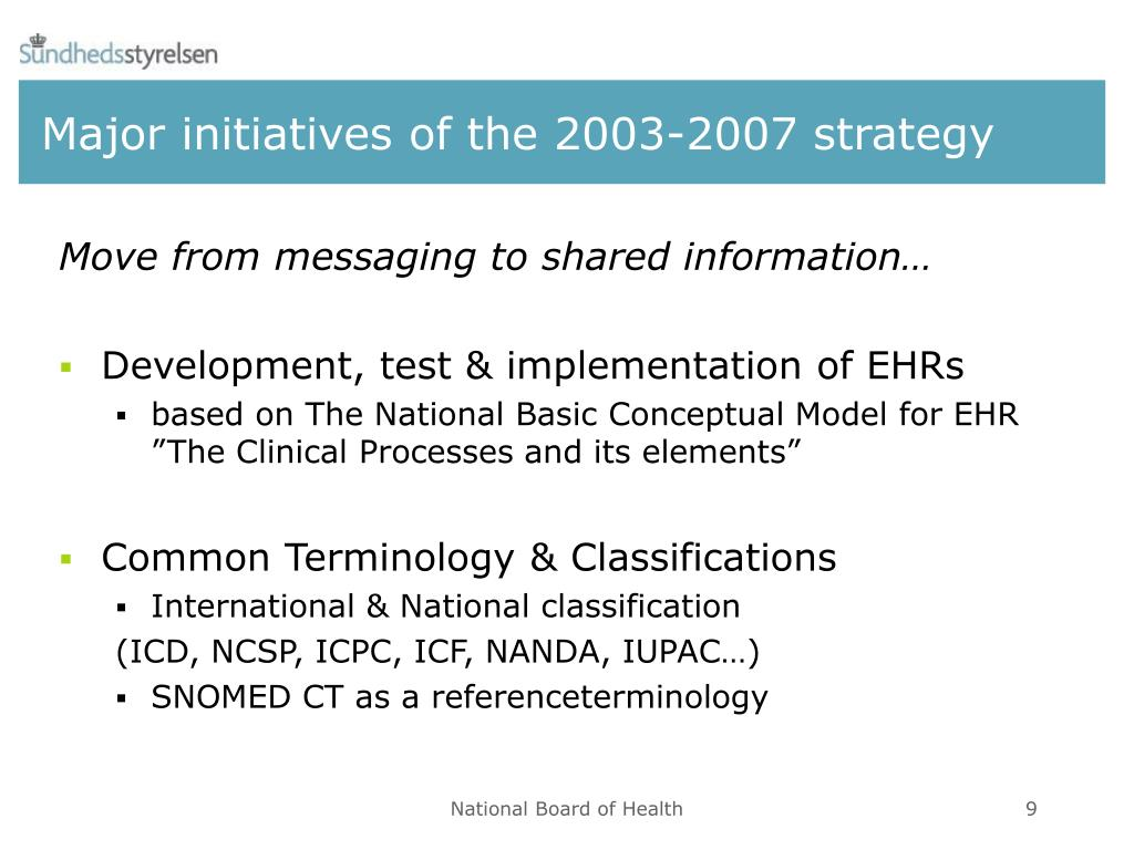 Major initiatives of the 2003-2007 strategy
