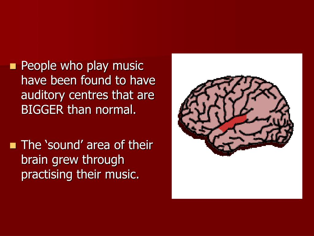 People who play music have been found to have auditory centres that are BIGGER than normal.