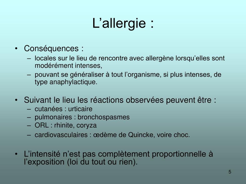 L'allergie: