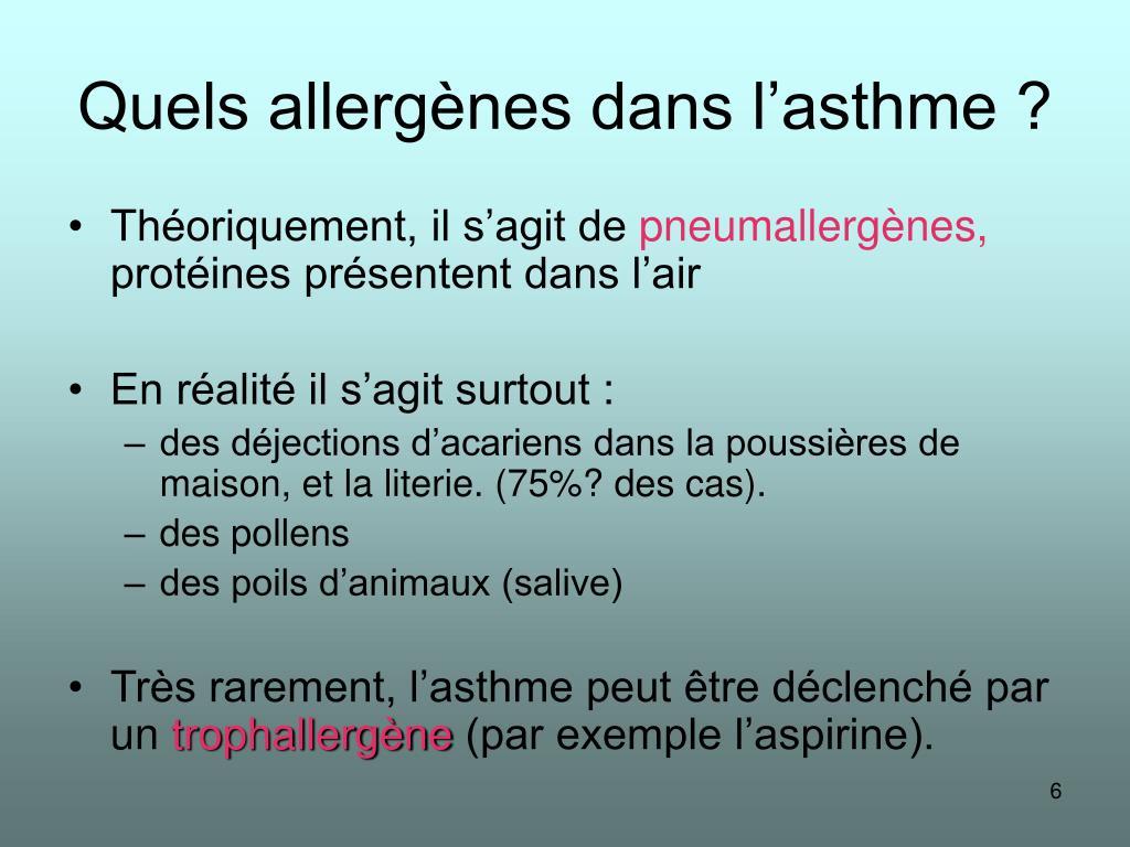 Quels allergènes dans l'asthme ?