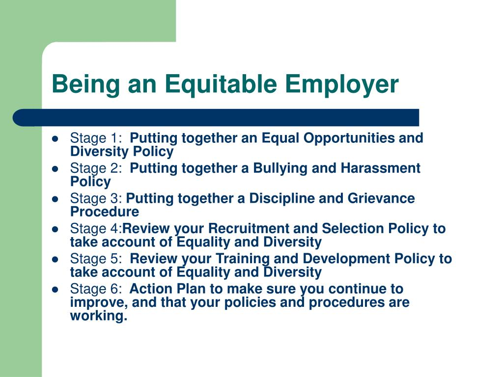 Being an Equitable Employer