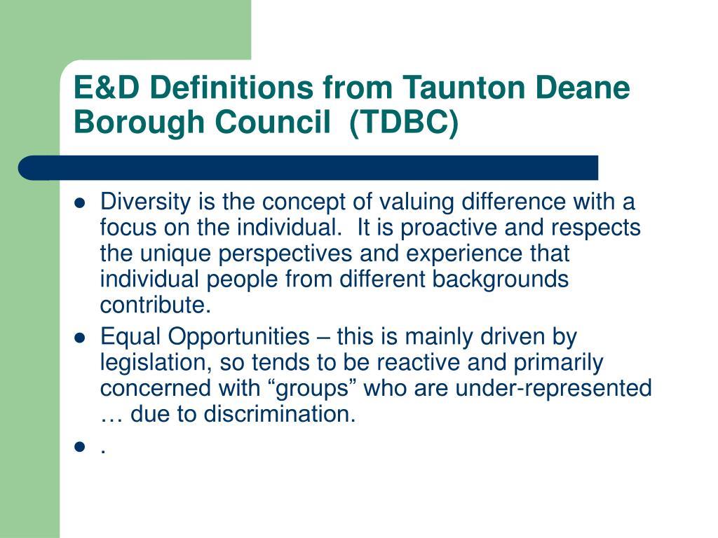 E&D Definitions from Taunton Deane Borough Council  (TDBC)
