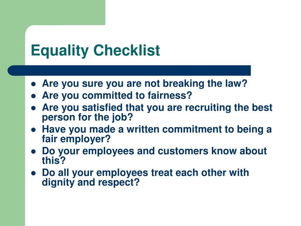 Equality Checklist
