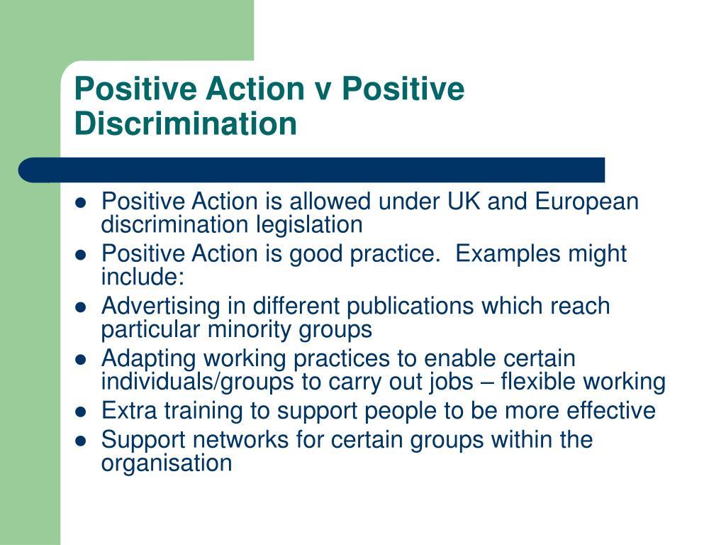 Positive Action v Positive Discrimination